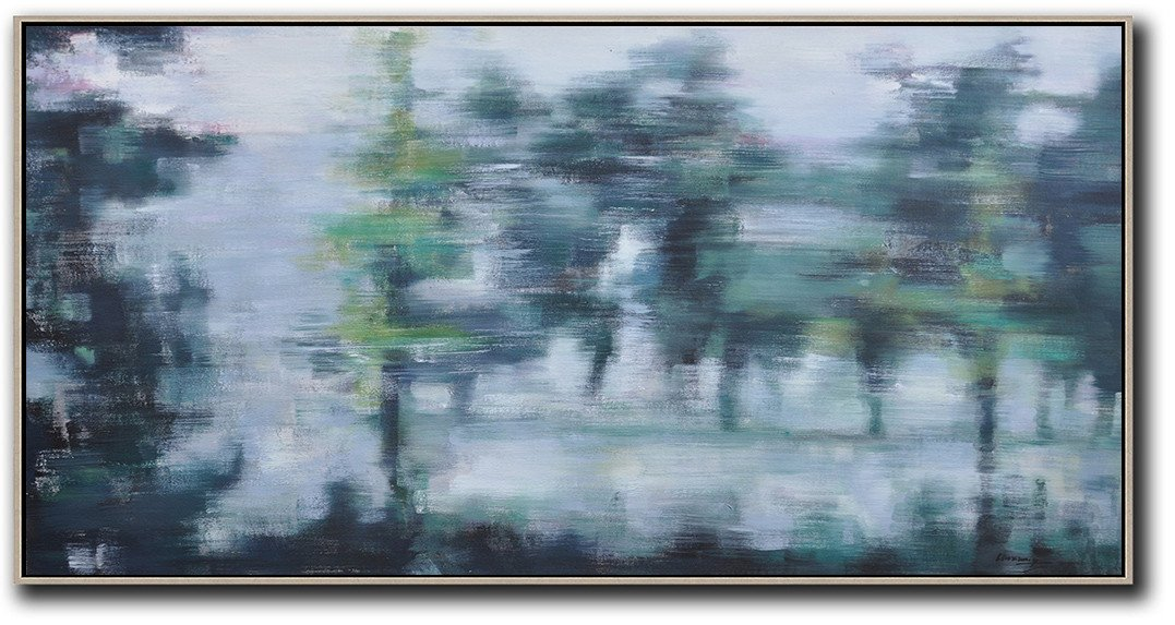 Large Abstract Art Panoramic Abstract Landscape Painting Wall Art Ideas For Living Room Grey Dark Green