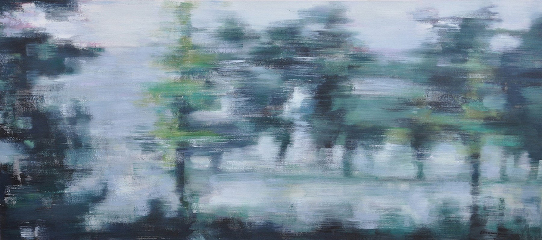 Large Abstract Art,Panoramic Abstract Landscape Painting,Wall Art Ideas For Living Room,Grey,Dark Green,Black.etc