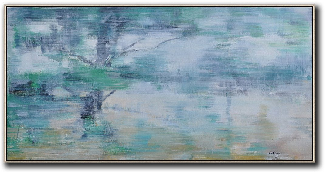 Original Extra Large Wall Art,Panoramic Abstract Landscape Painting,Extra Large Canvas Painting,Blue Grey,Green,White,Yellow.etc