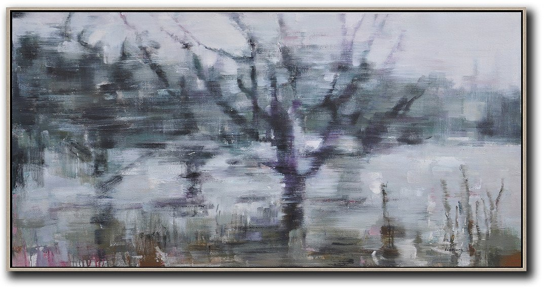Handmade Large Contemporary Art,Panoramic Abstract Landscape Painting,Abstract Painting Modern Art,Dark Green,Purple,Grey,White.etc