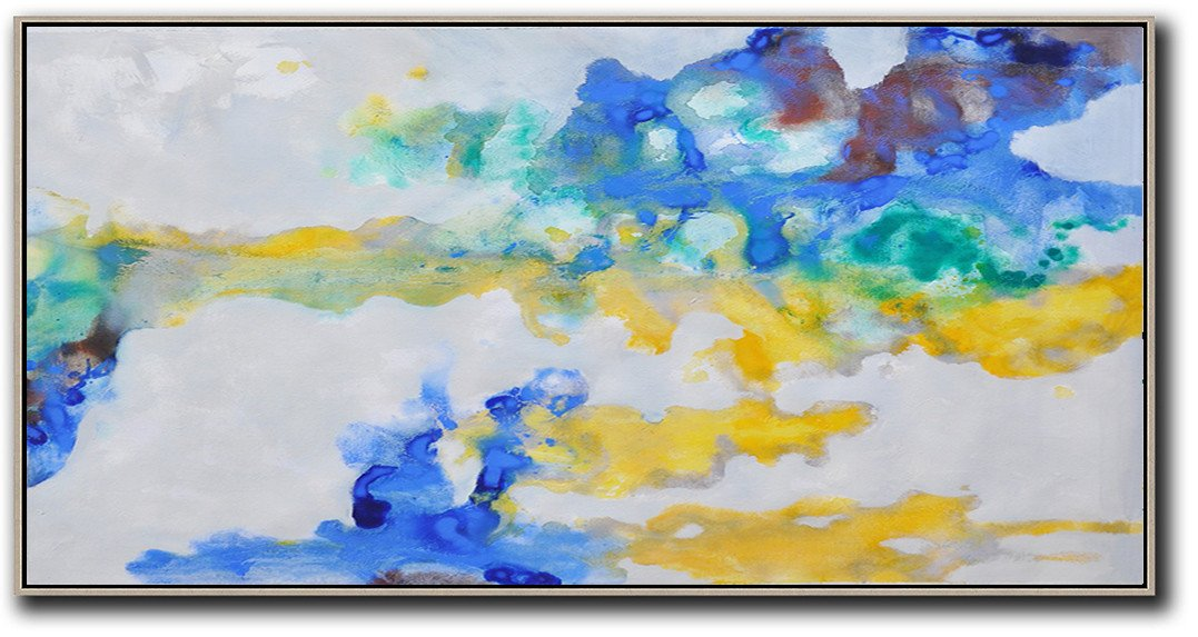 Handmade Large Painting,Panoramic Abstract Oil Painting On Canvas,Contemporary Art Acrylic Painting,Grey,Yellow,Blue.etc