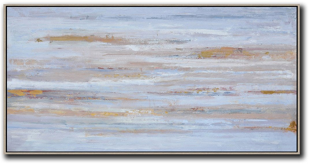 Large Modern Abstract Painting,Panoramic Abstract Oil Painting On Canvas,Big Painting,Dusty Blue,Yellow,Pink.etc