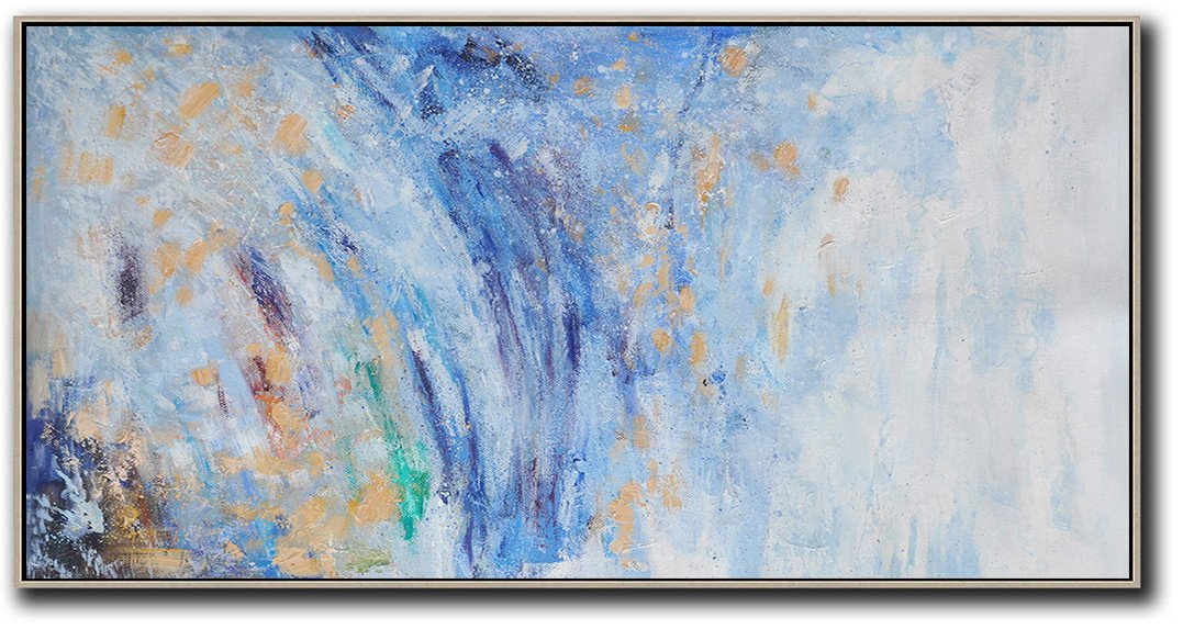 Original Artwork Extra Large Abstract Painting,Panoramic Abstract Oil Painting On Canvas,Acrylic Painting On Canvas,Blue,White,Yellow.etc