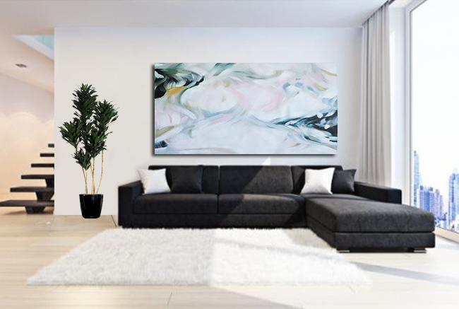 Handmade Extra Large Contemporary Painting,Large Panoramic Abstract Art On Canvas,Canvas Paintings For Sale,White,Pink,Green.etc