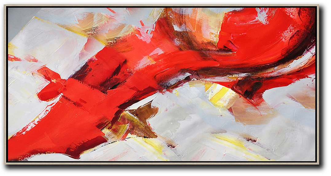 Large Abstract Painting On Canvas,Horizontal Palette Knife Contemporary Art Panoramic Canvas Painting,Original Art Acrylic Painting,Red,White,Yellow.etc