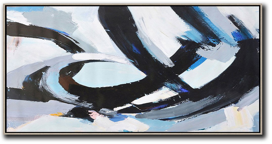 Huge Abstract Painting On Canvas,Horizontal Palette Knife Contemporary Art Panoramic Canvas Painting,Acrylic Minimailist Painting,Black,White,Grey,Blue.etc