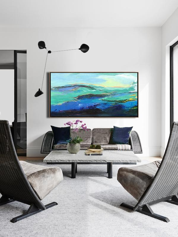 Abstract Painting Extra Large Canvas Art,Horizontal Palette Knife Abstract Landscape Art Panoramic Canvas Painting,Oversized Canvas Art,Dark Blue,Green,Black,Yellow.etc