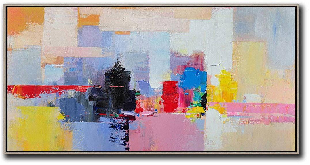 Large Abstract Painting Canvas Art,Horizontal Palette Knife Contemporary Art Panoramic Canvas Painting,Oversized Art,Black,Pink,Yellow,Red,Blue.etc