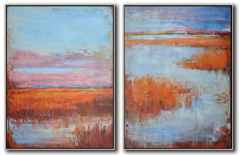 Handmade Large Contemporary Art,Set Of 2 Abstract Landscape Painting On Canvas,Size Extra Large Abstract Art,Blue,Pink,Red.etc