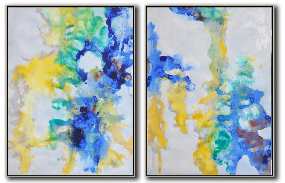 Large Abstract Art,Set Of 2 Abstract Oil Painting On Canvas,Acrylic Painting Wall Art,Grey,Yellow,Blue,Green.etc