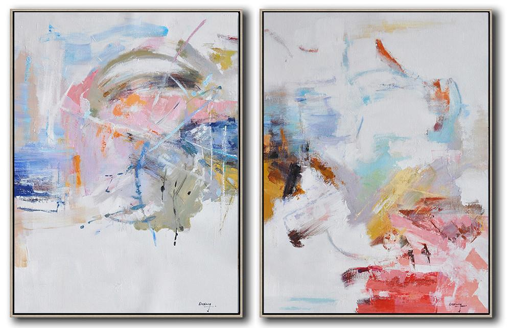 Large Abstract Painting On Canvas,Set Of 2 Abstract Oil Painting On Canvas,Wall Art Painting,White,Pink,Blue,Gray.etc