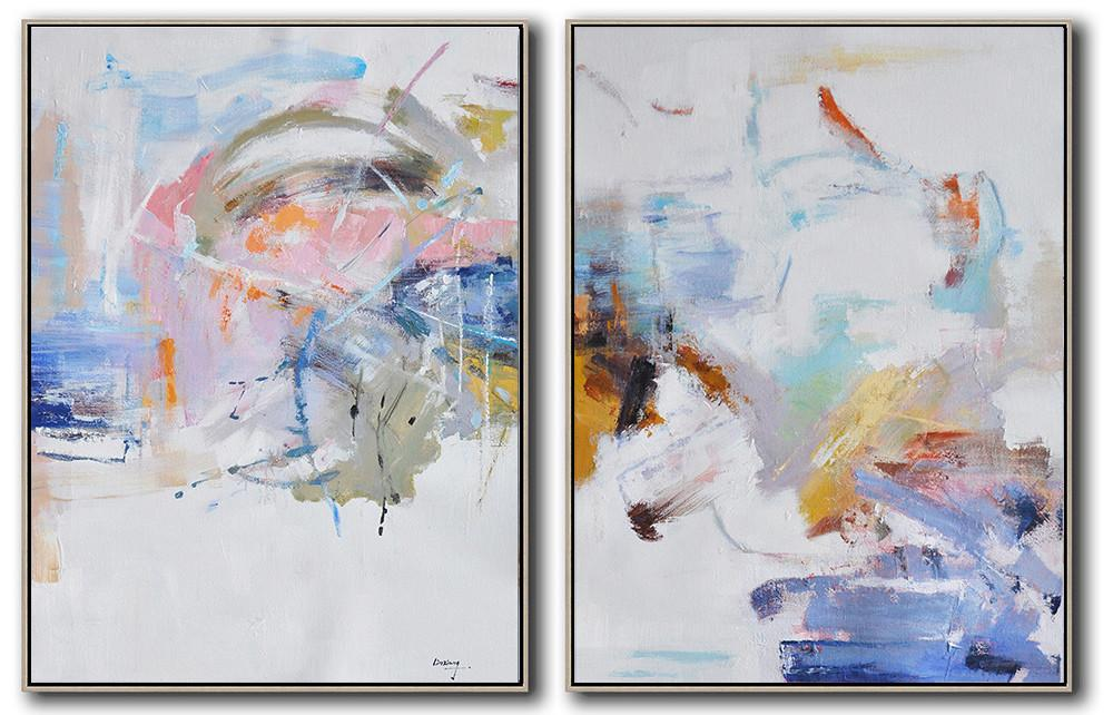 Extra Large Textured Painting On Canvas,Set Of 2 Abstract Oil Painting On Canvas,Original Art Acrylic Painting,White,Grey,Yellow,Pink,Orange.etc