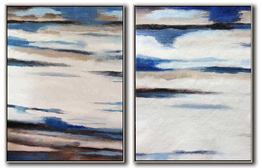 Handmade Painting Large Abstract Art,Set Of 2 Abstract Painting On Canvas,Unique Canvas Art,White,Blue,Brown.etc