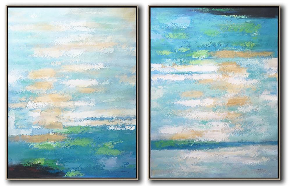 Large Abstract Art Handmade Oil Painting,Set Of 2 Abstract Painting On Canvas,Art Work,Blue,Yellow,Green.etc