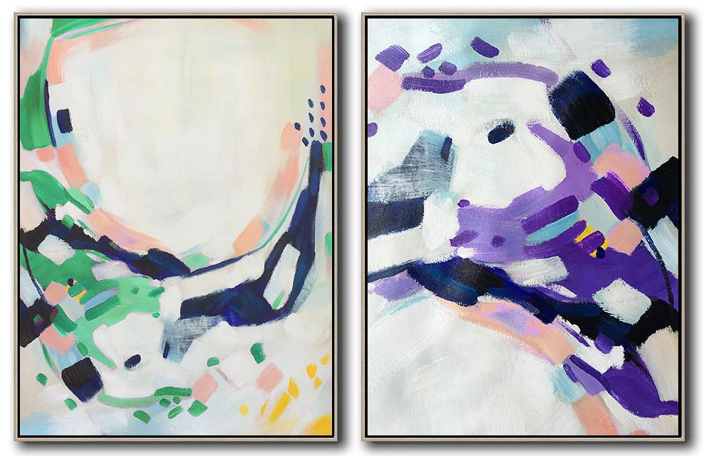 Extra Large Canvas Art,Set Of 2 Abstract Painting On Canvas,Hand Painted Abstract Art,White,Pink,Purple,Green,Dark Blue.etc