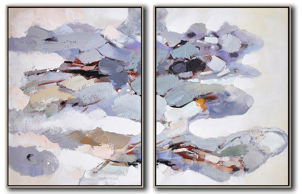 Huge Abstract Painting On Canvas,Set Of 2 Abstract Painting On Canvas,Modern Canvas Art,Pink,Gray,Purple,White.etc