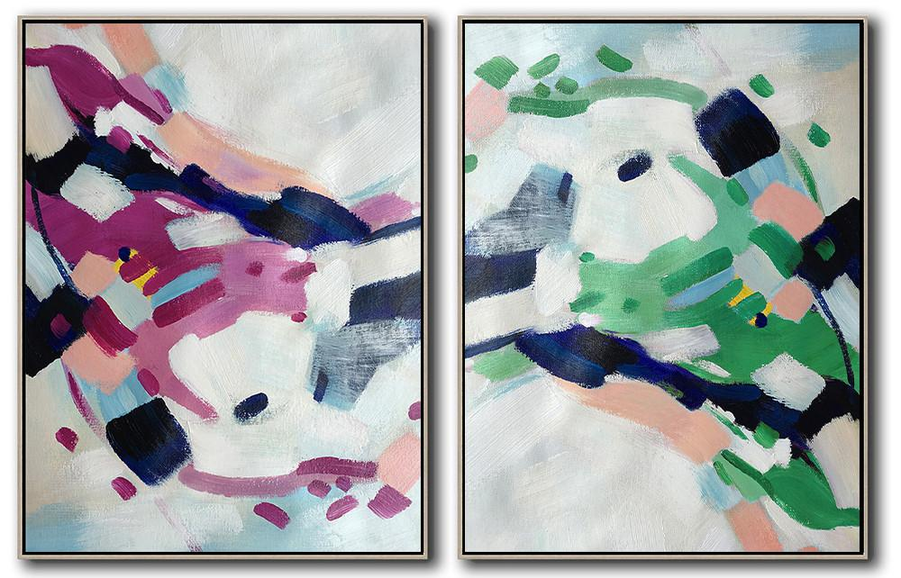Extra Large Abstract Painting On Canvas,Set Of 2 Abstract Painting On Canvas,Hand-Painted Canvas Art,Grey,Purple,Green,Pink.Dark Blue.etc