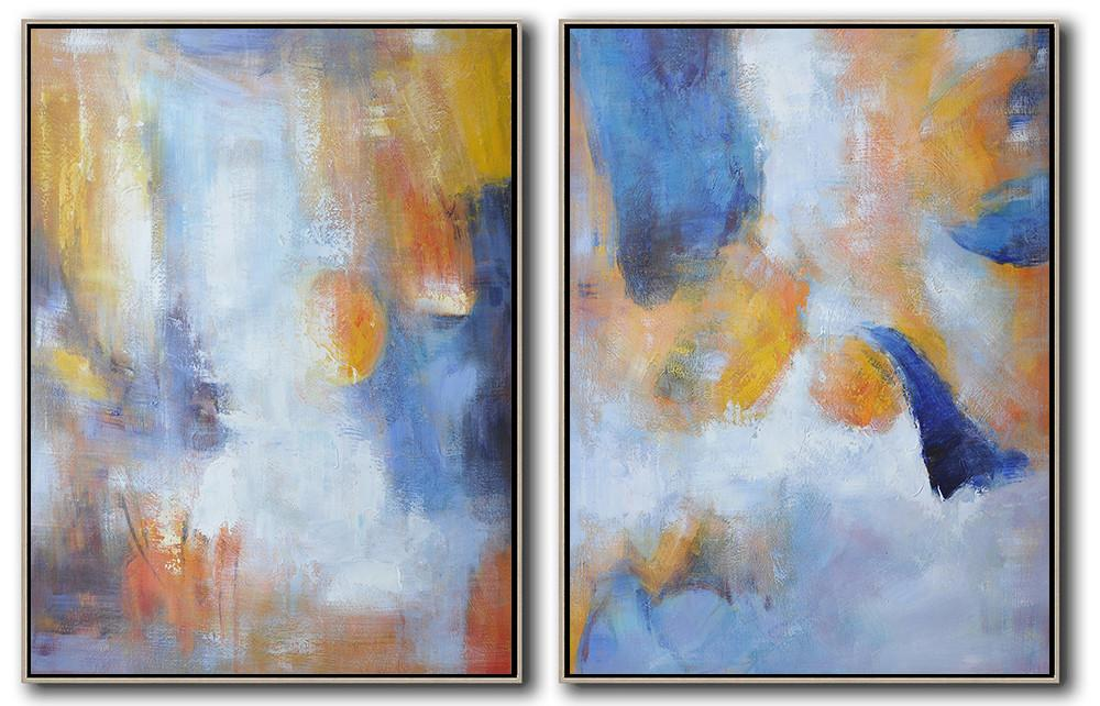 Large Abstract Painting On Canvas,Set Of 2 Abstract Painting On Canvas,Abstract Painting On Canvas,Yellow,Blue,White.etc