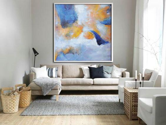 Large Abstract Art,Oversized Square Abstract Art,Huge Abstract Canvas Art,White,Blue,Yellow.etc