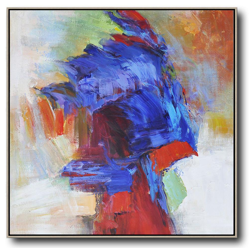 Handmade Large Contemporary Art,Oversized Square Abstract Art,Canvas Paintings For Sale,Blue,Red,Orange.etc