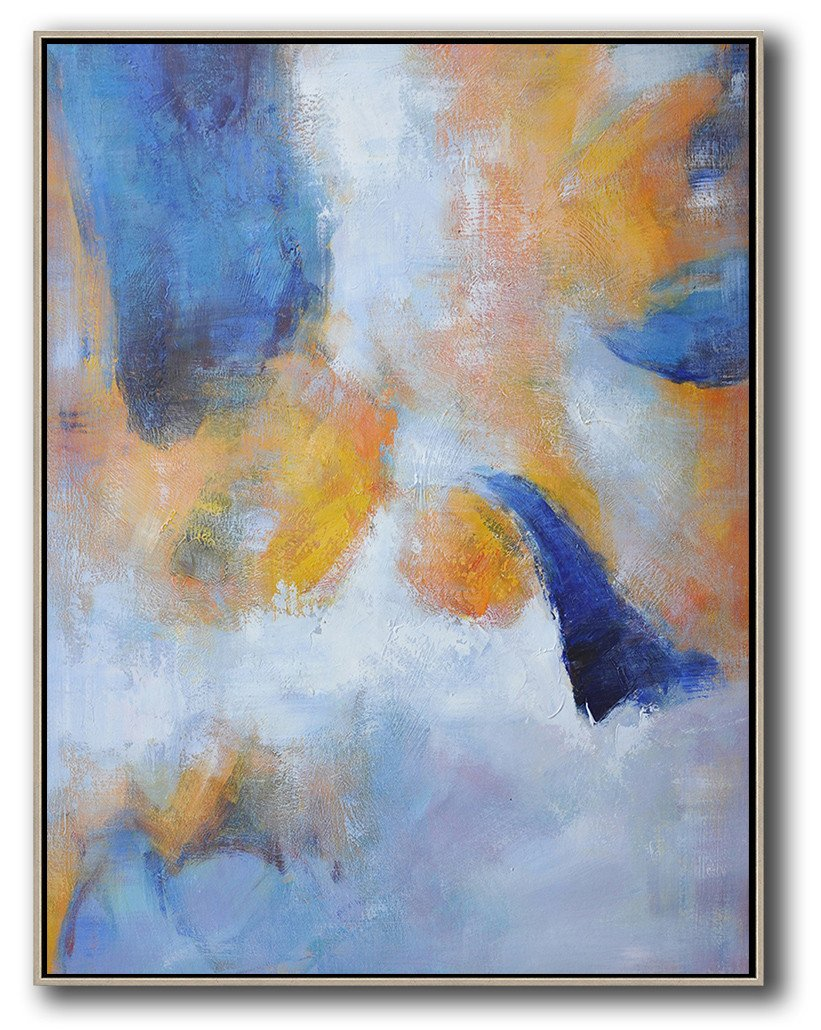 "Extra Large 72"" Acrylic Painting,Hand Painted Vertical Abstract Art,Large Paintings For Living Room,Yellow,White,Blue.etc"