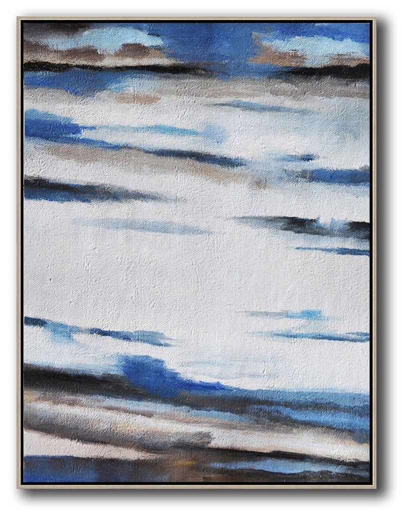 Large Contemporary Art Acrylic Painting,Oversized Abstract Landscape Painting,Acrylic Painting Canvas Art,Blue,White,Grey,Brown.etc