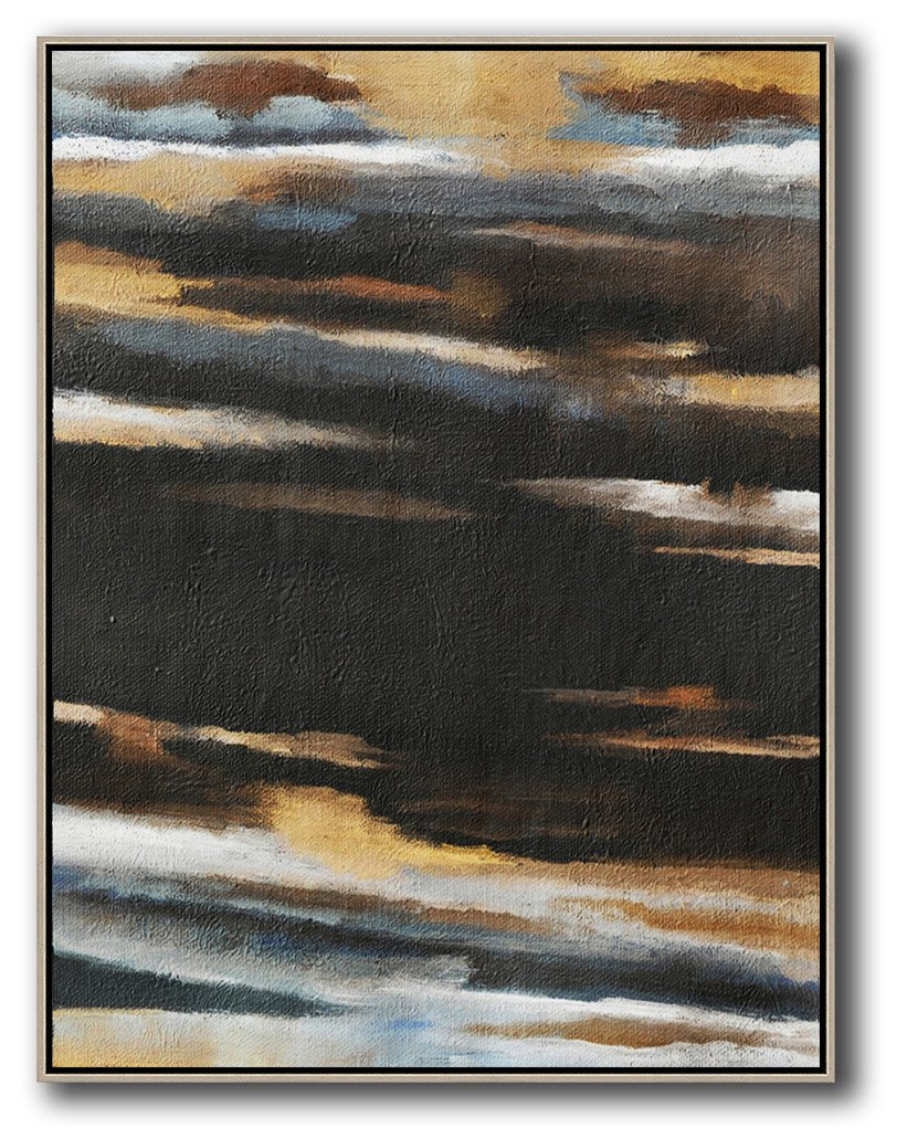 Hand Painted Extra Large Abstract Painting,Oversized Abstract Landscape Painting,Extra Large Canvas Art,Handmade Acrylic Painting,Yellow,Grey,Black,White.etc