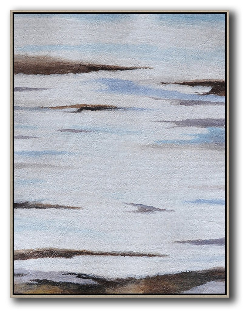 Extra Large Canvas Art,Oversized Abstract Landscape Painting,Abstract Art Decor,Contemporary Painting,Blue,White,Brown,Grey.etc