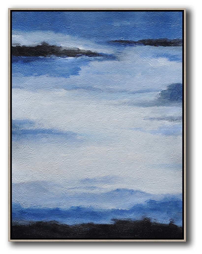 Extra Large Abstract Painting On Canvas,Oversized Abstract Landscape Painting,Modern Art Abstract Painting,Blue,White,Black.etc
