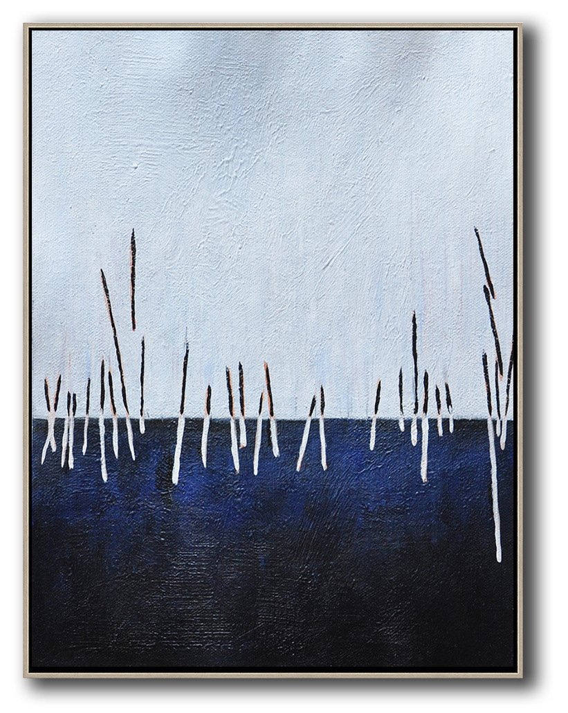 Large Contemporary Art Acrylic Painting,Oversized Abstract Landscape Painting,Abstract Painting Modern Art,White,Dark Blue,Black.etc
