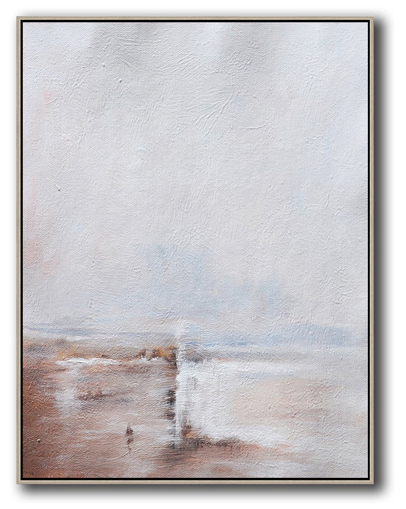 Original Extra Large Wall Art,Oversized Abstract Landscape Painting,Modern Art,Grey,White,Pink.etc