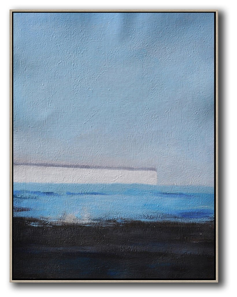 Hand Made Abstract Art,Oversized Abstract Landscape Painting,Hand Paint Abstract Painting,Grey,White,Blue,Black.etc