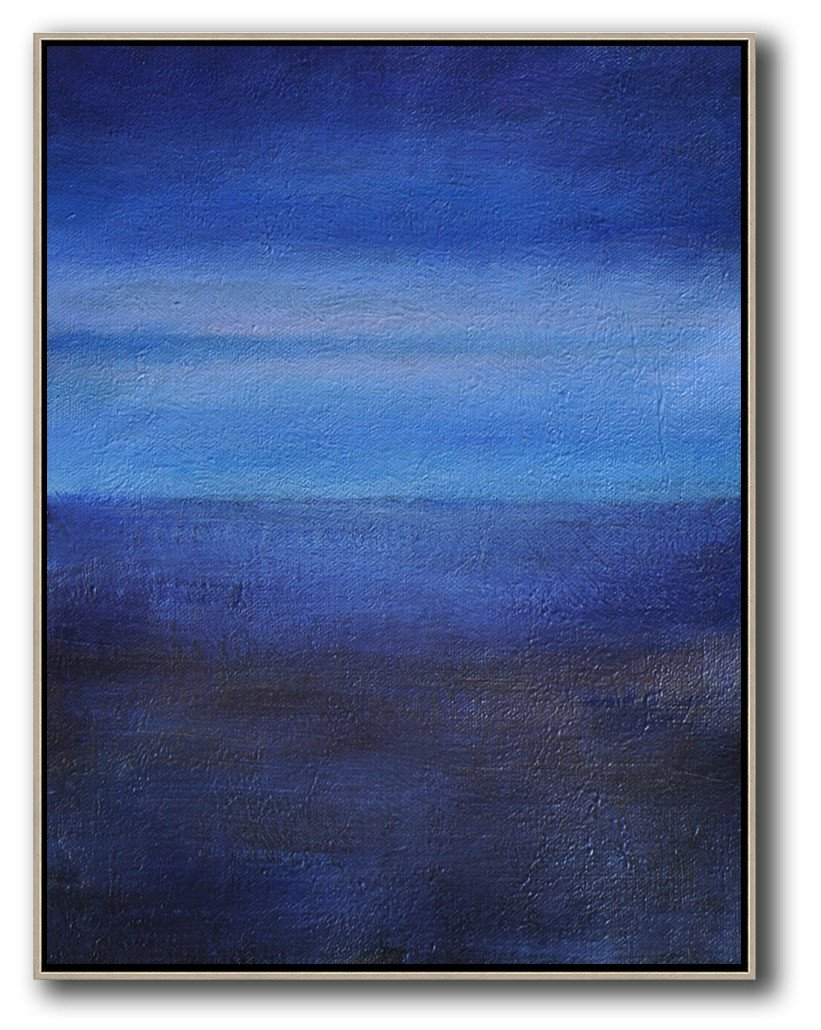 Handmade Large Painting,Oversized Abstract Landscape Painting,Large Contemporary Art Canvas Painting,Dark Blue,Blue,White.etc