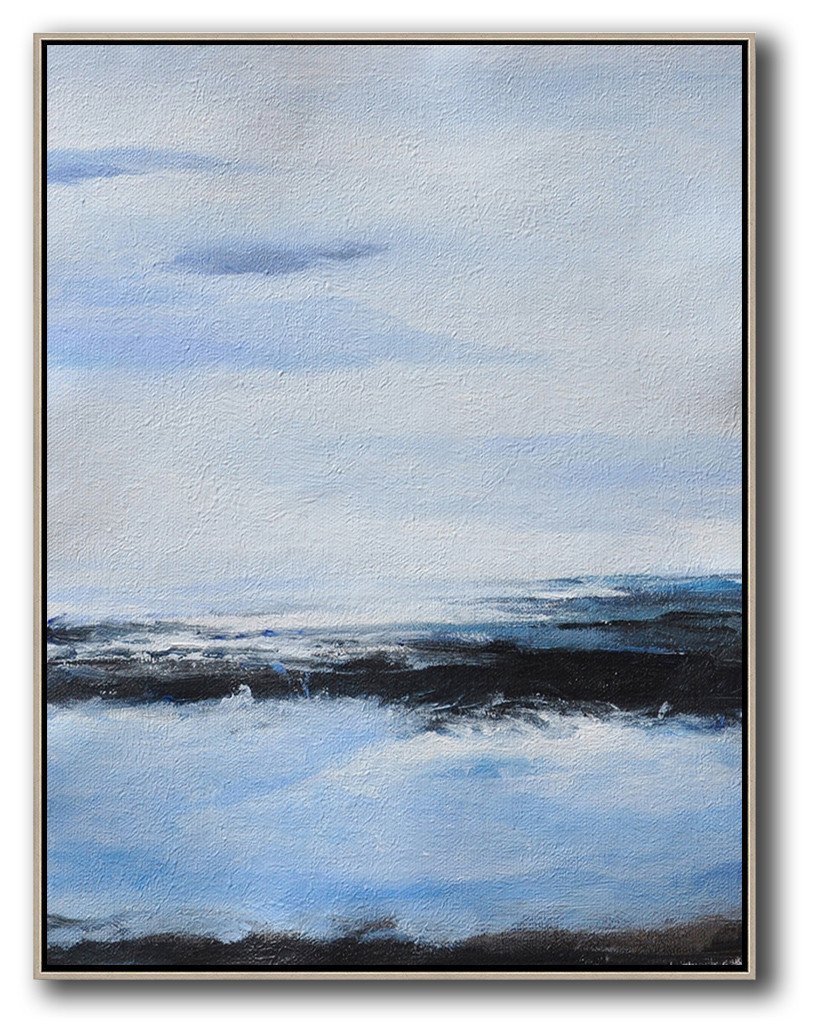 Original Artwork Extra Large Abstract Painting,Oversized Abstract Landscape Painting,Original Art Acrylic Painting,Grey,Blue,White,Black.etc