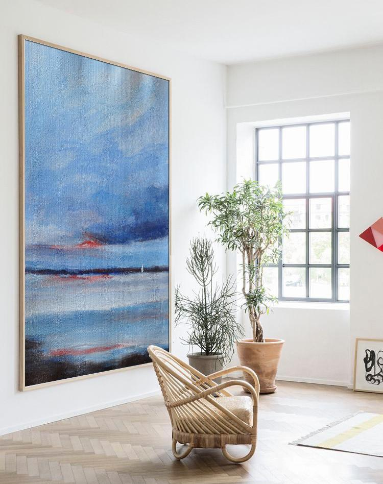Extra Large Acrylic Painting On Canvas,Oversized Abstract Landscape Painting,Modern Art Abstract Painting,Blue,Dark Blue,Red,White,Black.etc