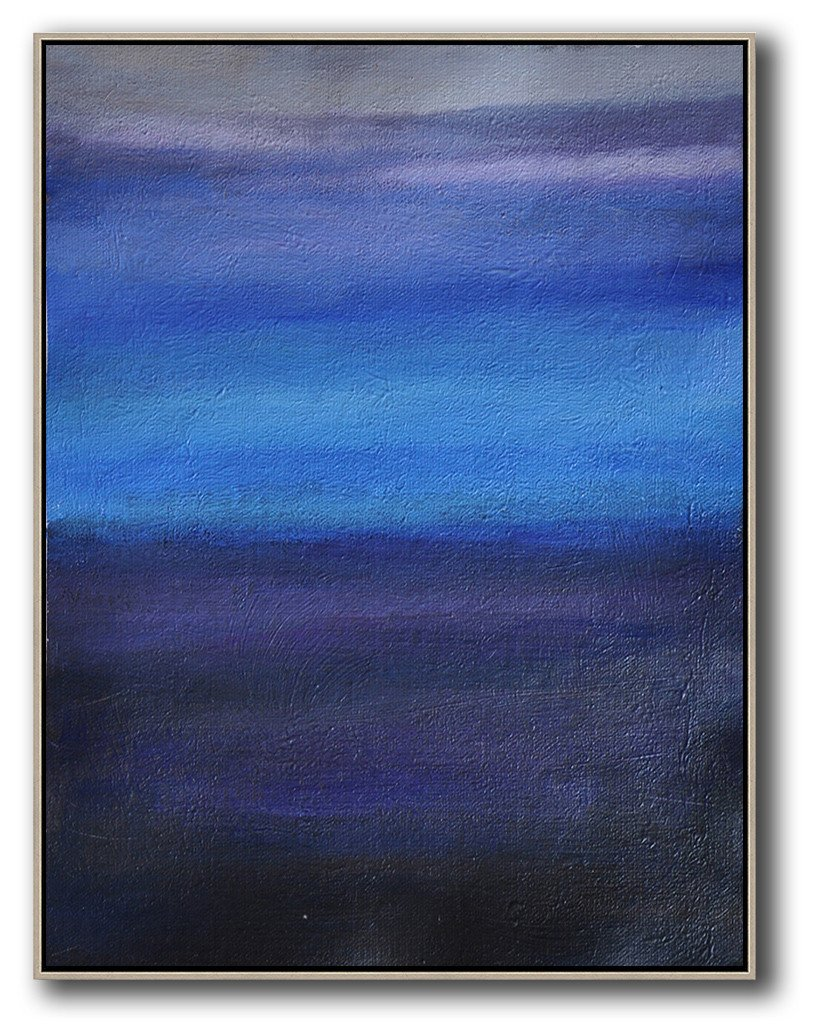 Hand Painted Extra Large Abstract Painting,Oversized Abstract Landscape Painting,Large Canvas Art,Blue,Dark Blue,Grey.etc