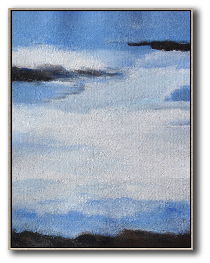Handmade Large Contemporary Art,Oversized Abstract Landscape Painting,Xl Large Canvas Art,Blue,White,Black.etc