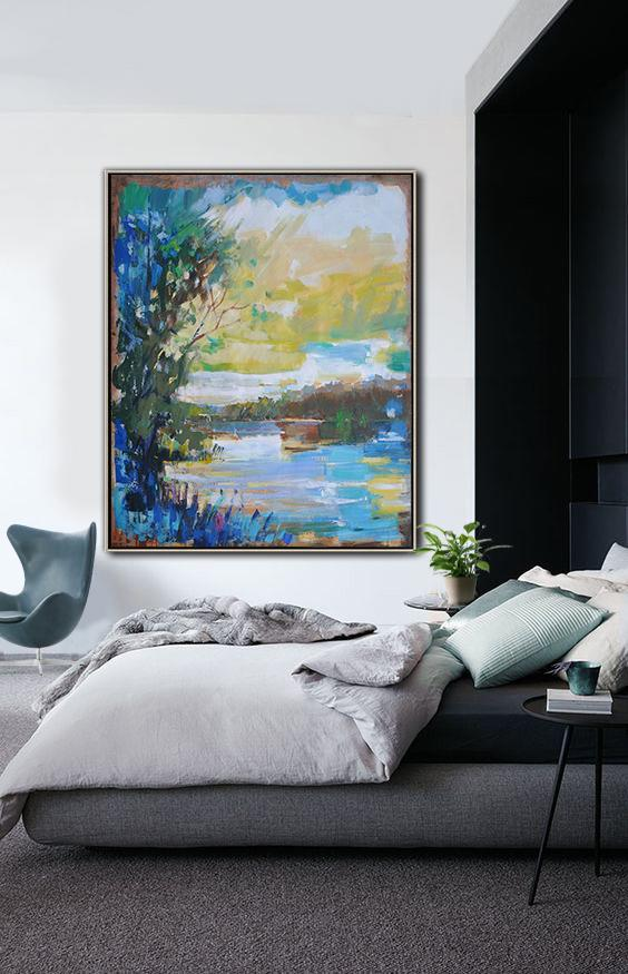 Large Abstract Art,Oversized Abstract Landscape Painting,Hand Painted Acrylic Painting,Blue,Yellow,White.etc