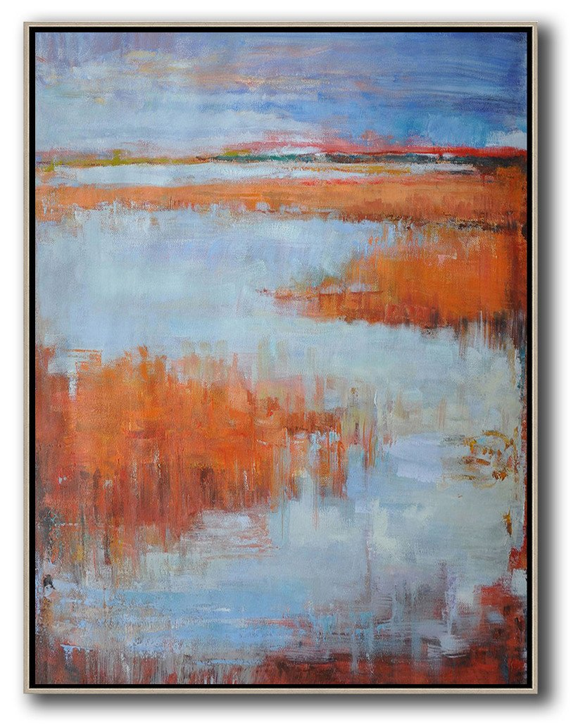 Original Abstract Painting Extra Large Canvas Art,Oversized Abstract Landscape Painting,Hand Painted Original Art,Blue,Orange,Grey.etc