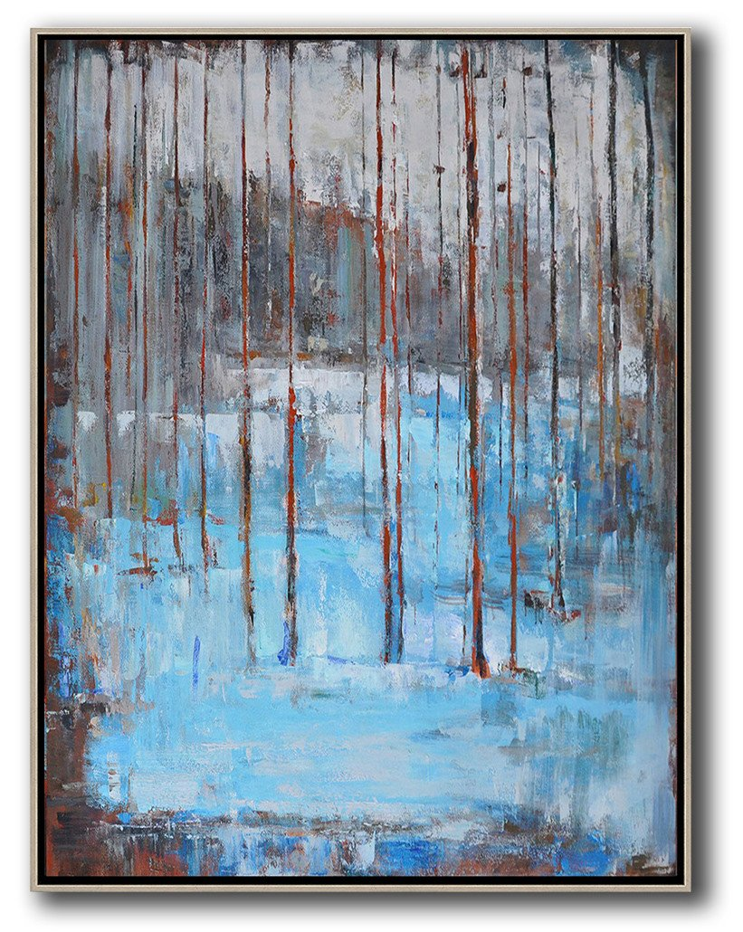 Extra Large Textured Painting On Canvas,Oversized Abstract Landscape Painting,Abstract Art On Canvas, Modern Art,Grey,White,Blue,Red.etc