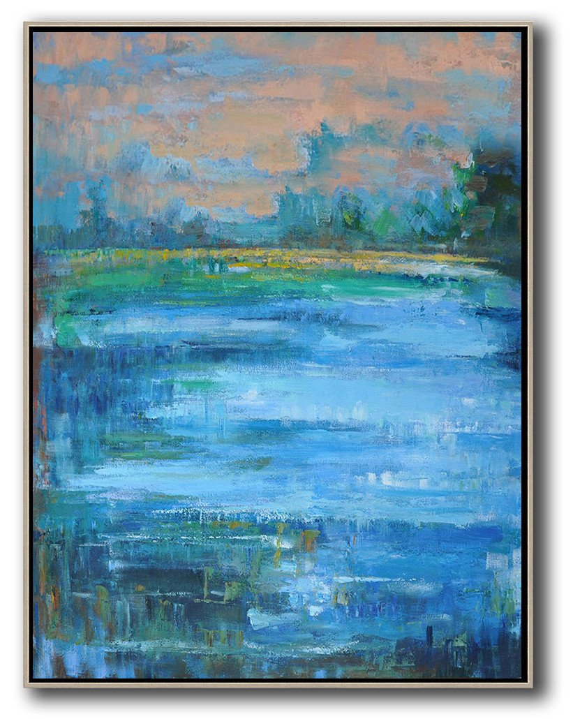 Handmade Large Contemporary Art,Oversized Abstract Landscape Painting,Large Abstract Wall Art,Pink,Blue,Green.etc