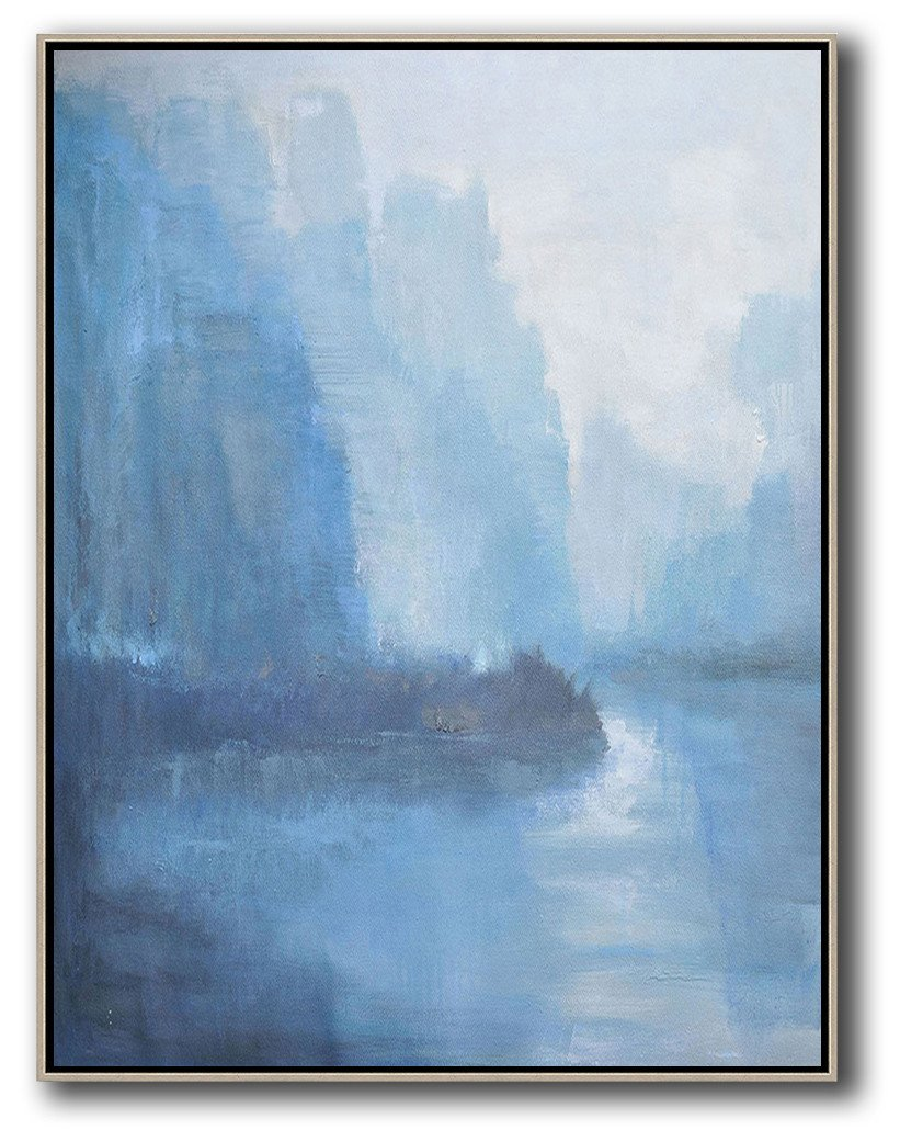 Large Abstract Painting,Oversized Abstract Landscape Painting,Hand Made Original Art,Sky Blue,Grey,White.etc