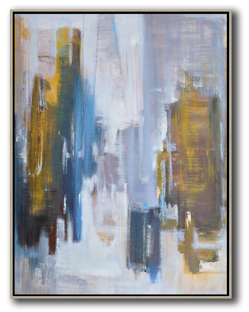 Huge Abstract Painting On Canvas,Oversized Abstract Landscape Painting,Modern Art Abstract Painting,Yellow,White,Blue,Brown.etc