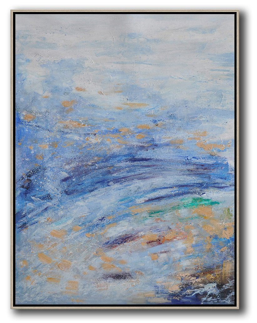 Extra Large Acrylic Painting On Canvas,Oversized Abstract Landscape Painting,Original Art Acrylic Painting,White,Sky Blue,Yellow.etc