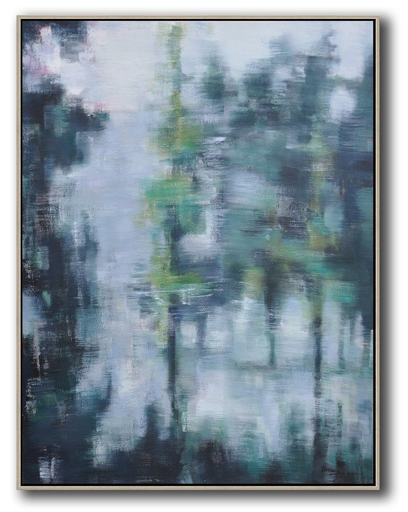 Large Abstract Painting On Canvas,Oversized Abstract Landscape Painting,Acrylic Painting On Canvas,Grey,Light Green,Black.etc