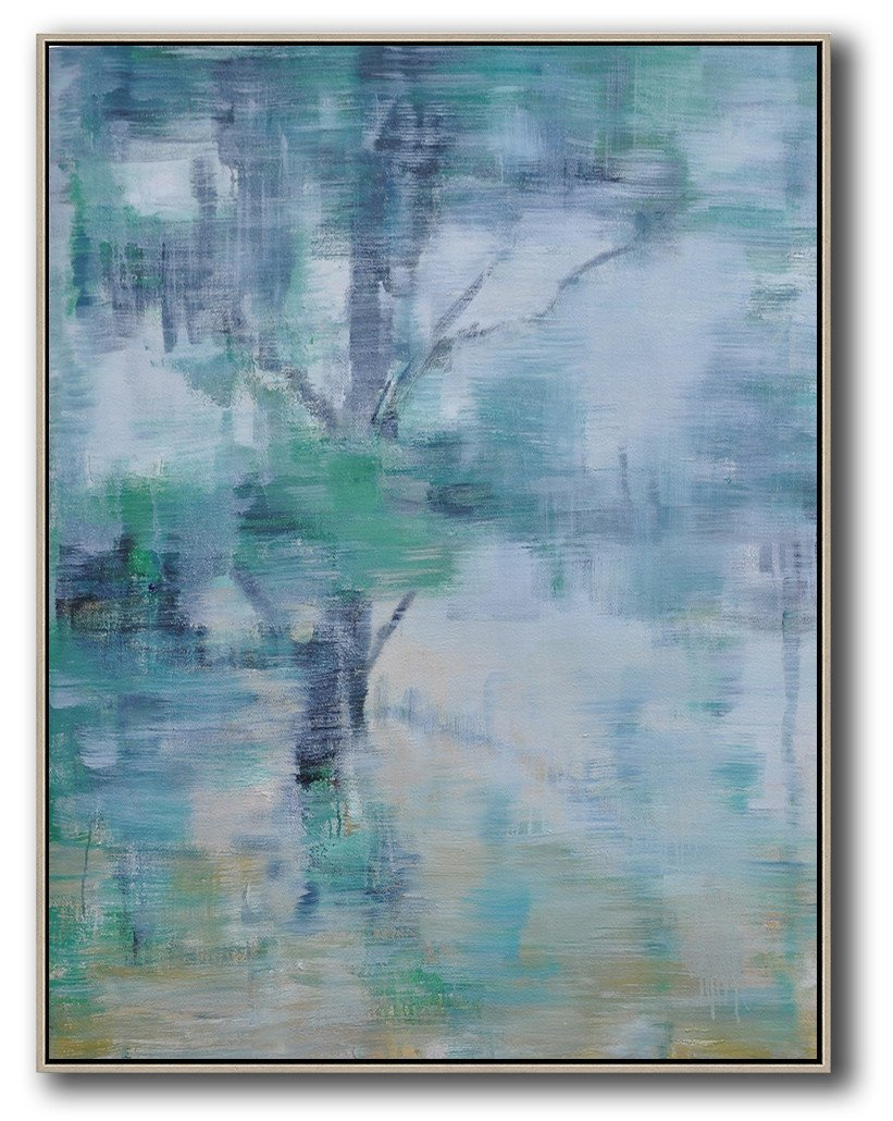 Extra Large Painting,Oversized Abstract Landscape Painting,Huge Abstract Canvas Art,Grey,Yellow,Light Green.etc