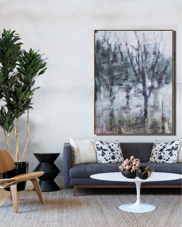 Abstract Painting Extra Large Canvas Art,Oversized Abstract Landscape Painting,Acrylic Painting Large Wall Art,Dark Green,White,Purple.etc