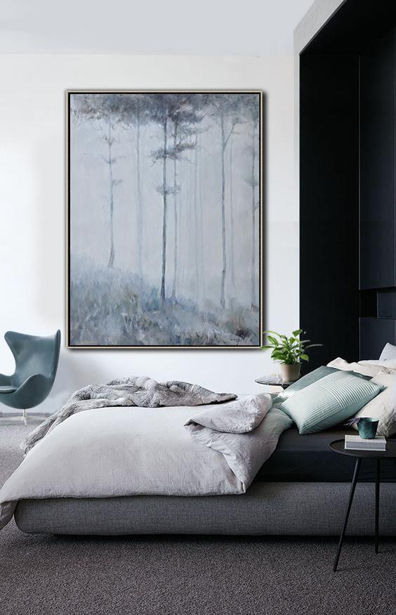 Large Abstract Painting Canvas Art,Oversized Abstract Landscape Painting,Big Canvas Painting,White,Grey,Black.etc