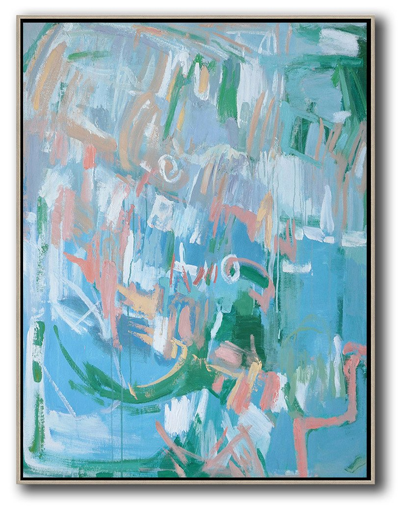 Large Abstract Art,Oversized Abstract Landscape Painting,Huge Abstract Canvas Art,Blue,Pink,Green.etc