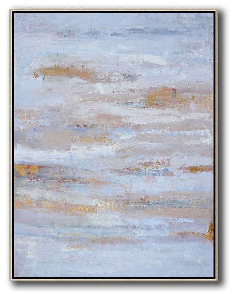 Large Abstract Art Handmade Oil Painting,Oversized Abstract Landscape Painting,Hand Painted Original Art,Blue,Grey,Gold.etc